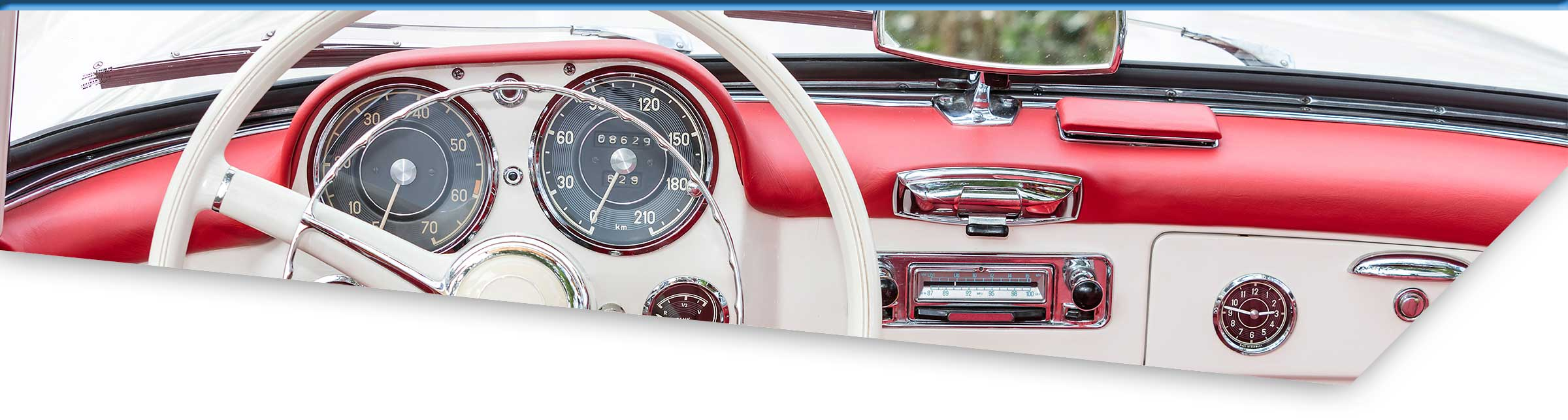 Dashboard of a classic red convertible