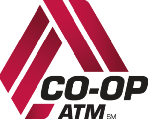 Red triangle and logo for the Co-op atm network