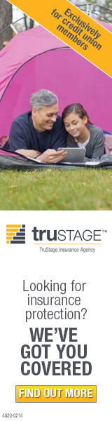 Tru-Stage Insurance ad with dad and daughter laying in a tent