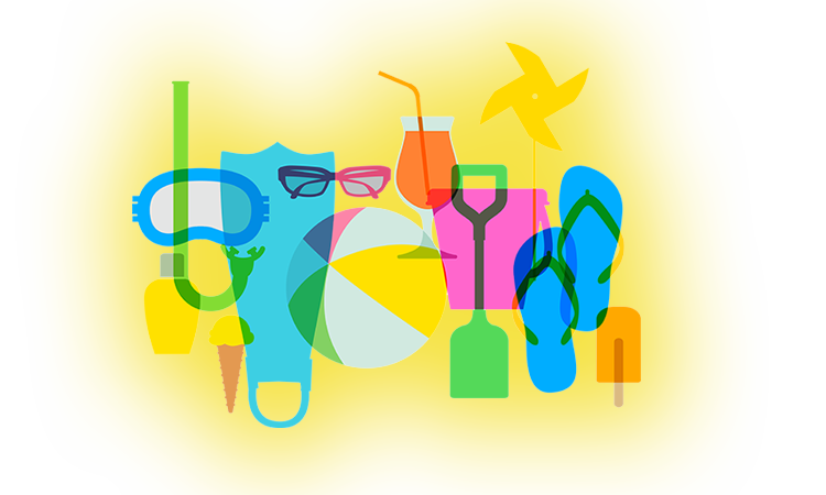 montage of summer icons including flip flops, ice cream, sunglasses