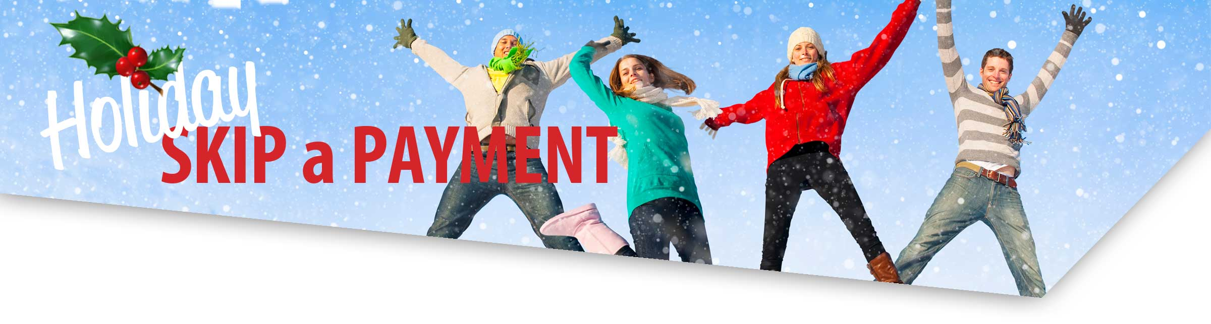 4 young adults colorfully clothed for winter jumping for joy