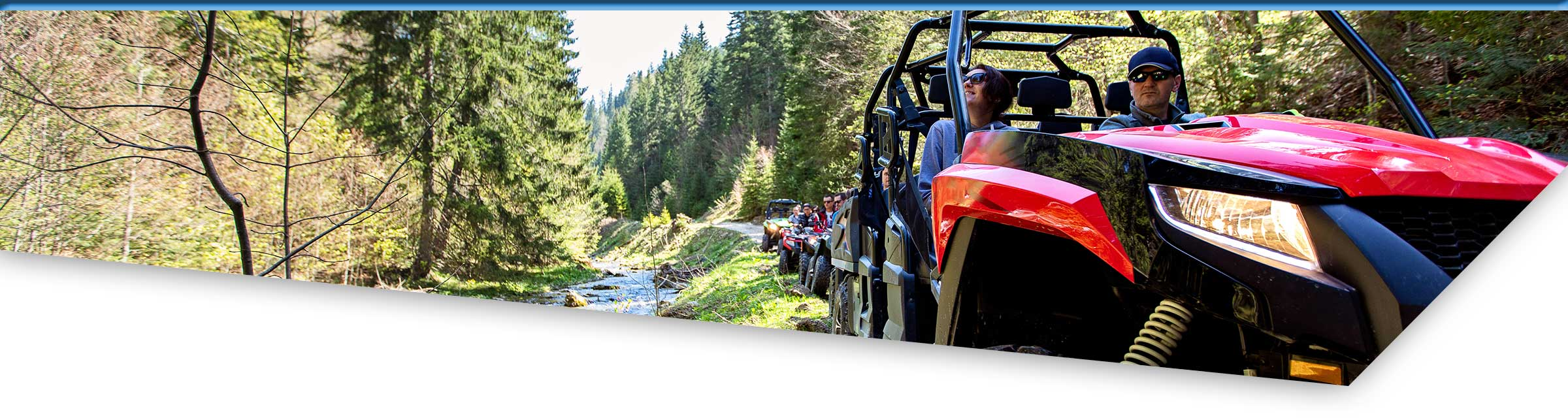 Driving ATVs along the river