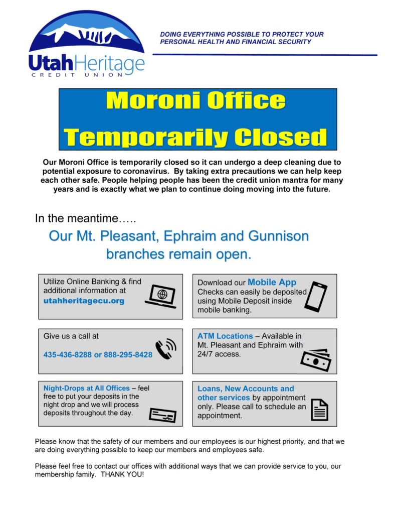 Moroni Office closing notice