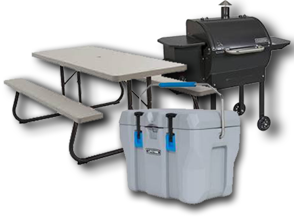 Camp Chef table, cooler and grill