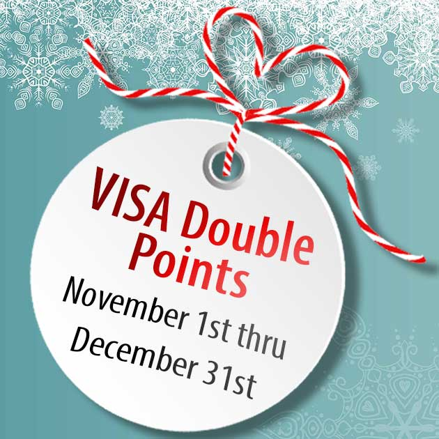 Christmas ornament labeled VISA Double Points just in time for the holidays.