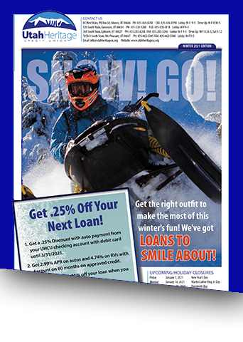 Newsletter with image of snowmobile flying over snow.